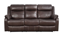 Yerba Brown Microfiber Double Lay Flat Reclining Sofa - Luna Furniture