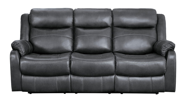 Yerba Gray Microfiber Double Lay Flat Reclining Sofa - Luna Furniture