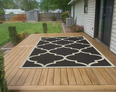 Jardin Trellis Black 5X7 Indoor/Outdoor Area Rug | 9093