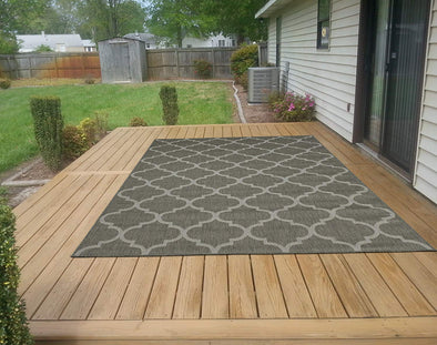 Jardin Trellis Dark Gray 5X7 Indoor/Outdoor Area Rug | 9113