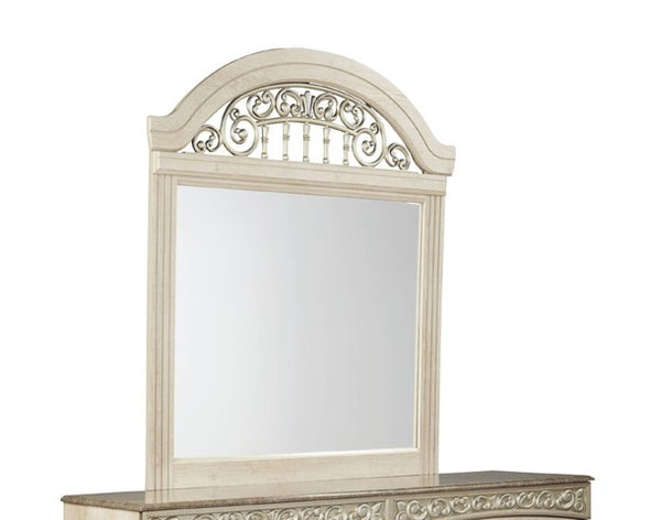 Catalina Antique White Bedroom Mirror