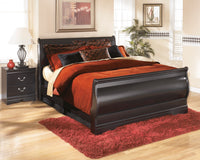 Huey Vineyard Black Queen Sleigh Bed - Luna Furniture