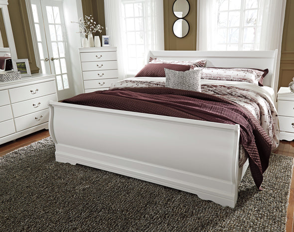 Anarasia White King Sleigh Bed - Luna Furniture