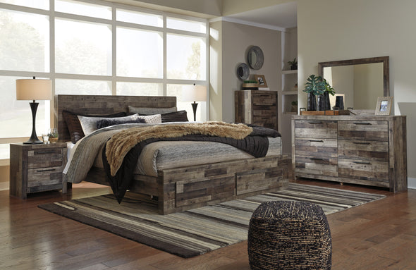 Derekson Gray Footboard Storage Platform Bedroom Set | B200 - Luna Furniture