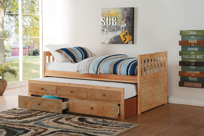 Bartly Pine Twin/Twin Trundle Captain Bed | B2043