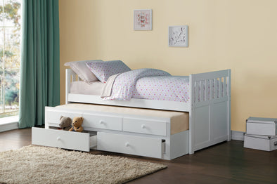 Galen White Twin/Twin Trundle Captain Bed | B2053