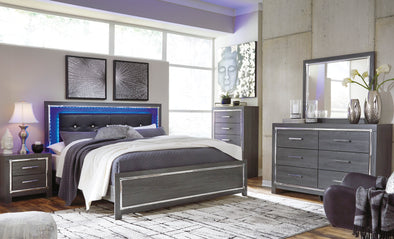 [SPECIAL] Lodanna Gray LED Panel Bedroom Set - Luna Furniture