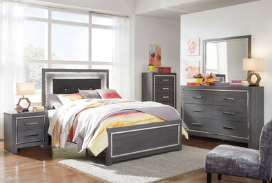 [SPECIAL] Ladonna Gray Youth LED Upholstered Panel Bedroom Set | B214