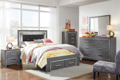 [SPECIAL] Ladonna Gray Youth LED Upholstered Storage Bedroom Set | B214