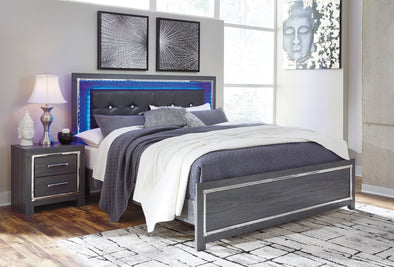 Lodanna Gray Queen LED Panel Bed - Luna Furniture