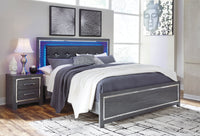 Lodanna Gray King LED Panel Bed - Luna Furniture