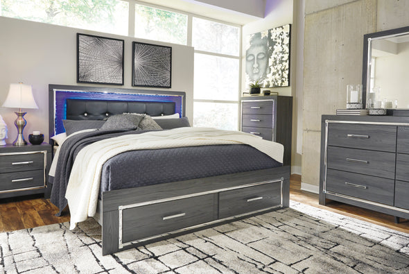 Lodanna Gray King LED Storage Bed - Luna Furniture