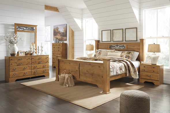 Bittersweet Light Brown King Poster Bed - Luna Furniture