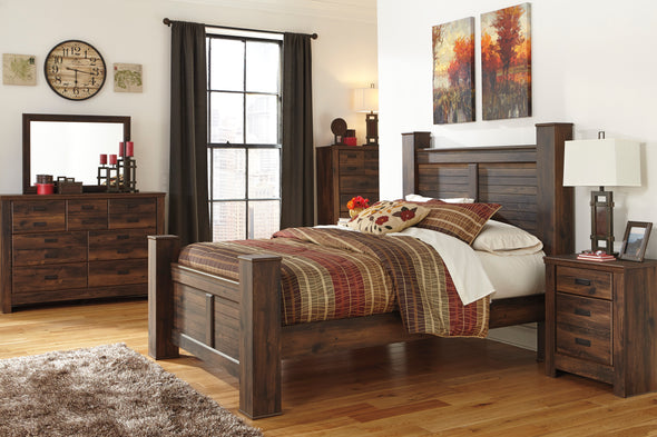 Quinden Dark Brown Poster Bedroom Set - Luna Furniture