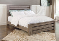 Zelen Warm Gray King Panel Bed - Luna Furniture