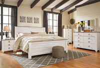 Willowton Whitewash Panel Bedroom Set - Luna Furniture