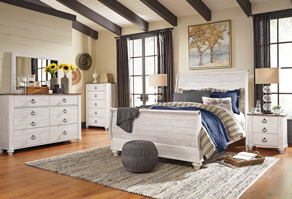 Willowton Whitewash Sleigh Bedroom Set - Luna Furniture