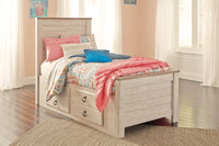 Willowton Whitewash Twin Under Bed Storage Platform Bed - Luna Furniture