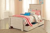 Willowton Whitewash Twin Panel Storage Platform Bed - Luna Furniture