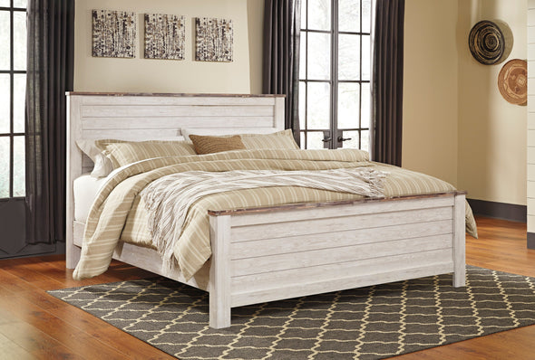 Willowton Whitewash King Panel Bed - Luna Furniture