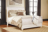 Willowton Whitewash Queen Sleigh Bed - Luna Furniture