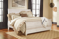 Willowton Whitewash King Sleigh Bed - Luna Furniture