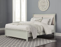 Jorstad Gray Upholstered Queen Sleigh Bed - Luna Furniture