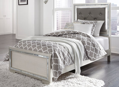 Lonnix Silver Twin LED Upholstered Panel Bed | B410