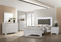 Lyssa Frost Queen LED Panel Bed - Luna Furniture