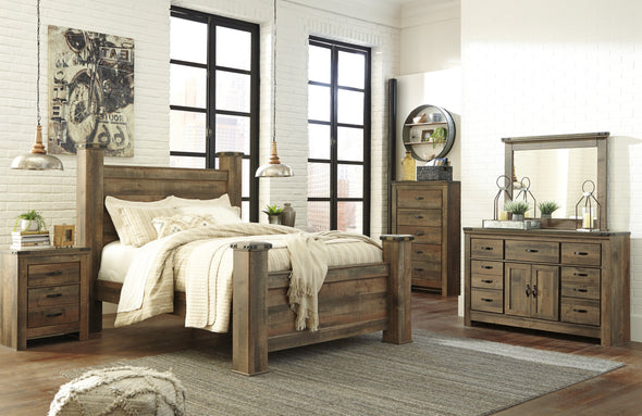 Trinell Brown Poster Bedroom Set with Fireplace Option - Luna Furniture