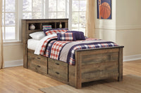 Trinell Brown Twin Panel Bookcase Under Bed Storage Bed - Luna Furniture