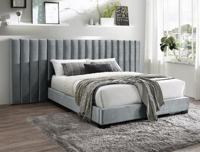 Jardin Gray Velvet King Wall Platform Bed - Luna Furniture