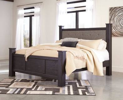Reylow Dark Brown King Poster Bed | B555
