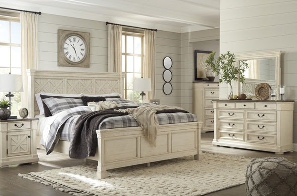 Bolanburg Antique White King Panel Bed - Luna Furniture