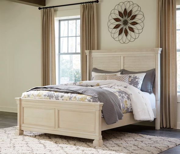 Bolanburg Antique White Queen Louvered Panel Bed - Luna Furniture