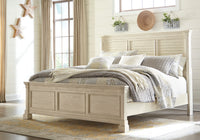 Bolanburg Antique White King Louvered Panel Bed - Luna Furniture