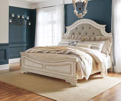 Realyn Chipped White King Panel Bed - Luna Furniture