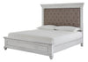 Kanwyn Whitewash King Upholstered Panel Bed - Luna Furniture