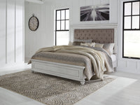 Kanwyn Whitewash Queen Upholstered Panel Bed - Luna Furniture