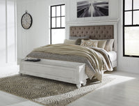 Kanwyn Whitewash King Upholstered Storage Bed - Luna Furniture
