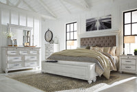Kanwyn Whitewash Upholstered Storage Bedroom Set - Luna Furniture