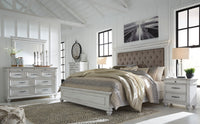 Kanwyn Whitewash Upholstered Panel Bedroom Set - Luna Furniture