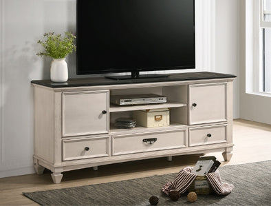 "Saywer Antique 68"" White/Brown TV Stand - Luna Furniture"