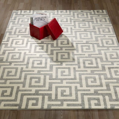 CIT3133 - City Greek Key Geometric Light Grey Area Rug - 5X7