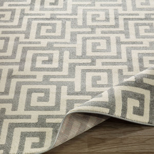 City 3133 Greek Key Geometric Light Grey Area Rug - 5X7 - Bellaria Furniture HomeStore