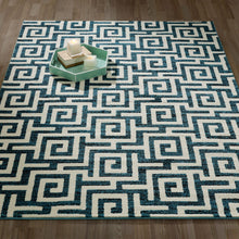 Load image into Gallery viewer, City 3136 Greek Key Geometric Blue Area Rug - 5X7 - Bellaria Furniture HomeStore