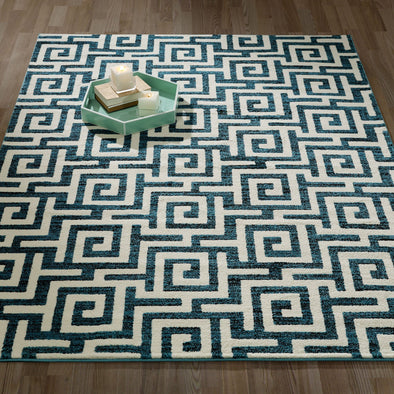 CIT3136 - City Greek Key Geometric Blue Area Rug - 5X7 - Luna Furniture