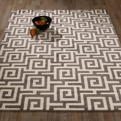 CIT3138 - City Greek Key Geometric Grey Area Rug - 5X7