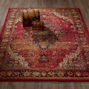 City 3170 Antique Faded Look Red Area Rug - 5X7 - Bellaria Furniture HomeStore