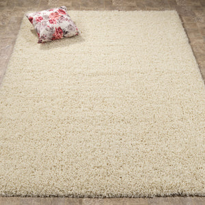 Cozy 2762 Solid Ivory Shaggy Area Rug - 8X10 - Bellaria Furniture HomeStore